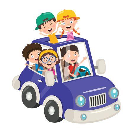 Photo pour Cartoon Characters Travelling With Vehicle - image libre de droit