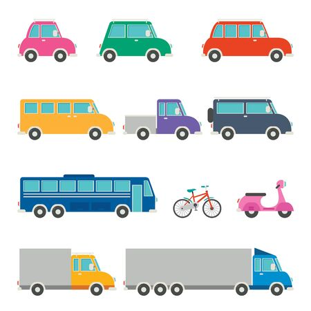 Illustration for Set Of Various Cartoon Vehicles - Royalty Free Image