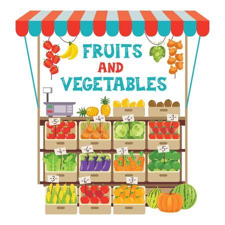 Illustration pour Green Grocer Shop With Various Fruits And Vegetables - image libre de droit