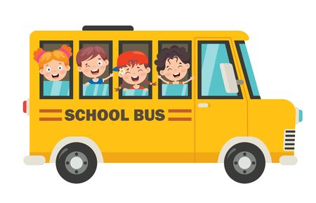 Illustration for Happy Children And School Bus - Royalty Free Image