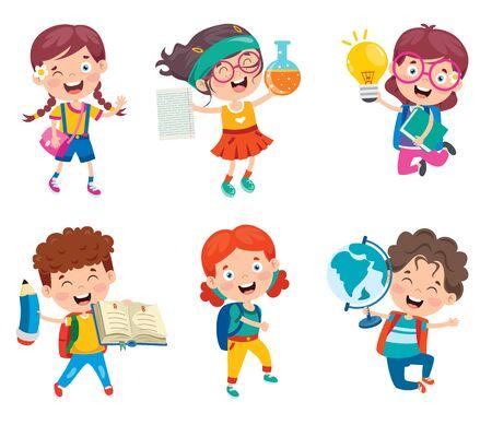 Illustration pour Happy Cute Cartoon School Children - image libre de droit