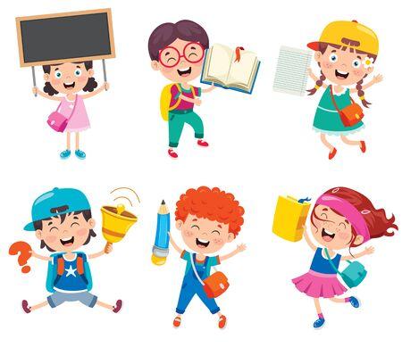 Illustration for Happy Cute Cartoon School Children - Royalty Free Image