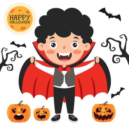 Illustration pour Happy Funny Child Celebrating Halloween - image libre de droit
