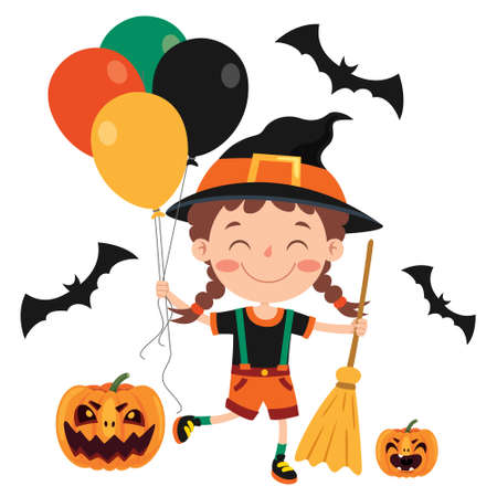 Illustration for Happy Funny Child Celebrating Halloween - Royalty Free Image