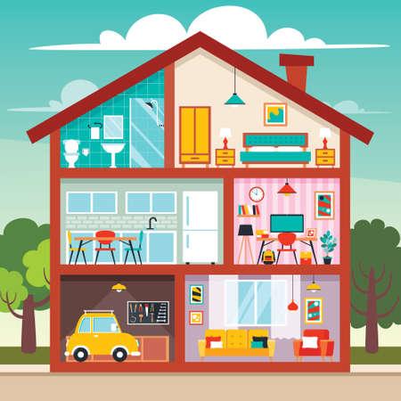 Illustration pour House Rooms With Flat Furnitures - image libre de droit