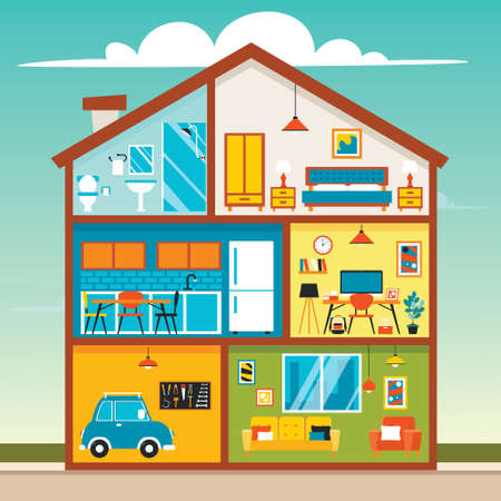 Illustration for House Rooms With Flat Furnitures - Royalty Free Image
