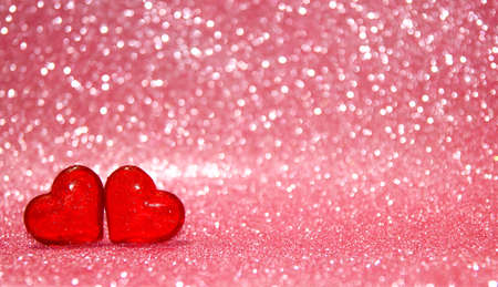 Photo for red hearts on beautiful pink bokeh background - Royalty Free Image