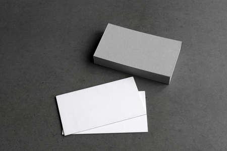 Photo pour Business cards blank. Mockup on black background. Copy space for text. - image libre de droit