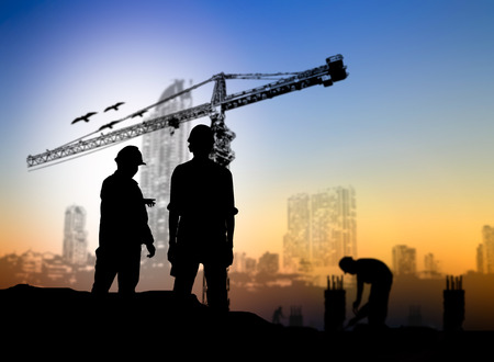Photo for silhouette engineer construction site over Blurred construction worker on construction site - Royalty Free Image
