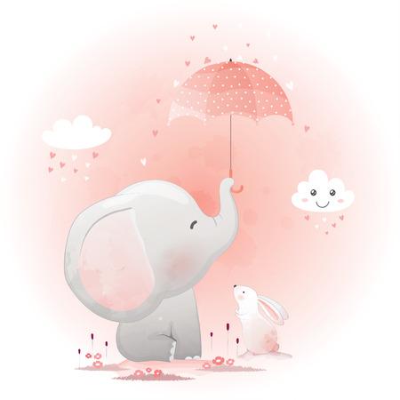 Ilustración de Cute elephant and bunny with umbrella cartoon hand drawn vector illustration. - Imagen libre de derechos