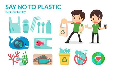 Ilustración de Say no to plastic straw tubes, bags, bottles, and cups to save the earth and ocean. Go green campaign. - Imagen libre de derechos