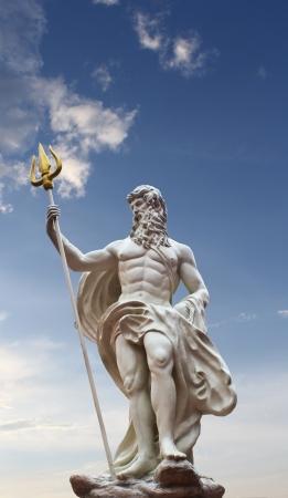 Detail of the statue of Poseidon on isolated sky background at venezia hua hin Thailand