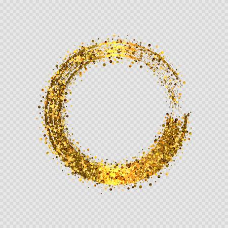 Illustration pour Vector  shiny golden glitter round decorative frame design isolated on transparent background - image libre de droit
