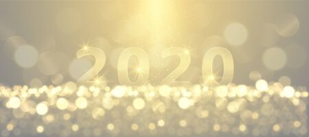 Ilustración de New year festive sparkling 2020 golden numbers background - Imagen libre de derechos