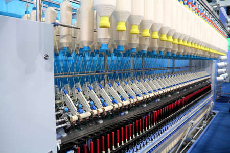 Cotton yarn production in a textile factory