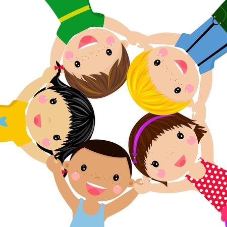 Happy children hand in hand around-illustration