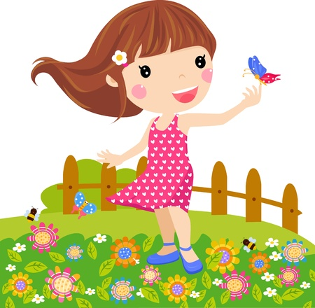 Ilustración de Illustration little girl and butterfly  - Imagen libre de derechos