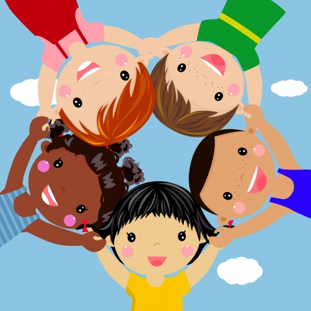 Illustration for Happy children hand in hand around-illustration  - Royalty Free Image