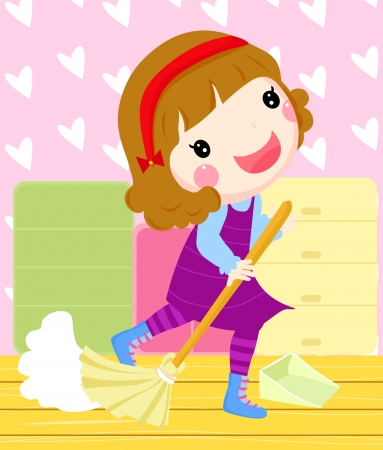 a girl cleaning a room