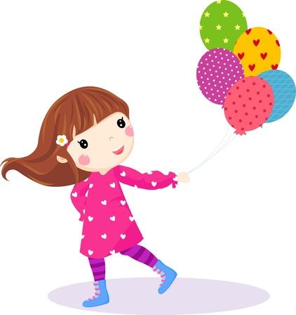 te little girl running with balloons
