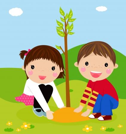 Illustration pour Happy kids is planting small plant cartoon - image libre de droit