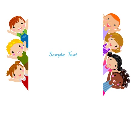 Illustration pour Cute cartoon kids frame - image libre de droit