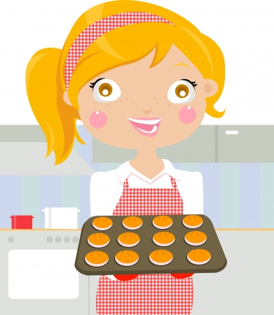 A  illustration of a woman baking cookies in the kitchen