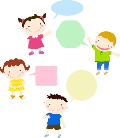 Illustration pour Kids talking and thinking with speech bubbles  - image libre de droit