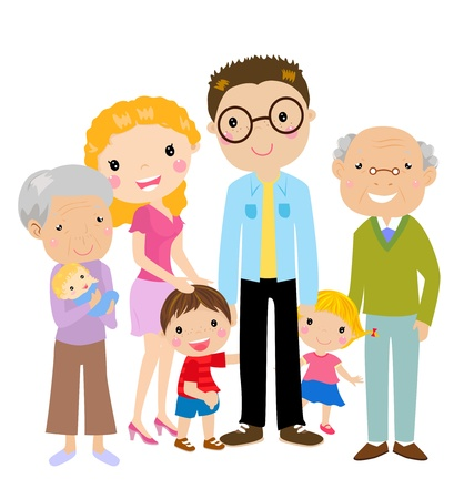 Photo for Big cartoon family with parents, children and grandparents, vector illustration  - Royalty Free Image