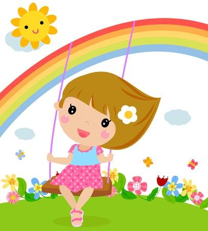 Ilustración de Cartoon girl swinging  - Imagen libre de derechos