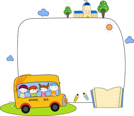 Cute cartoon kids and school bus frame