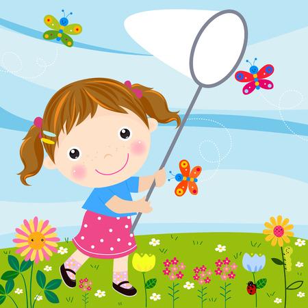 little girl catching butterflies