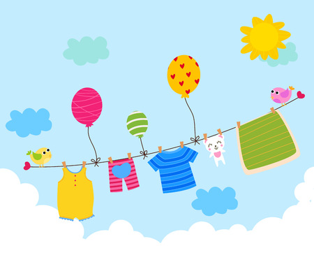 Illustration for Baby clothes hanging on the clothesline - Royalty Free Image