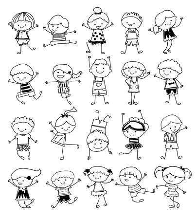 Illustration pour drawing sketch - Group of kids - image libre de droit