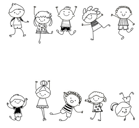 drawing sketch - Group of kids