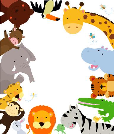 Ilustración de Fun Jungle Animals Border - Imagen libre de derechos
