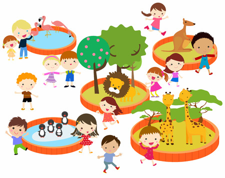 illustration of kids to the zoo
