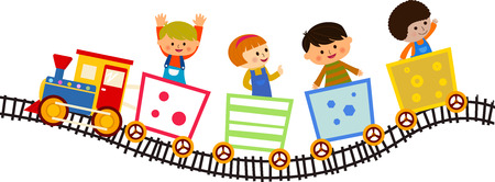 Illustration pour Children riding on the train - image libre de droit