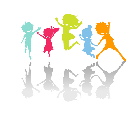 Illustration for Cute kids jumping silhouette - Royalty Free Image