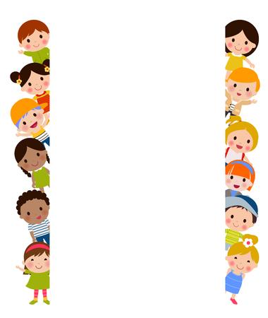 Children and banner
