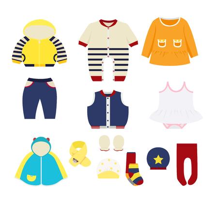 Ilustración de set of children's clothes design elements - Imagen libre de derechos