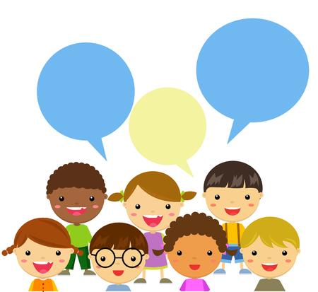 Illustration pour happy kids talking - image libre de droit