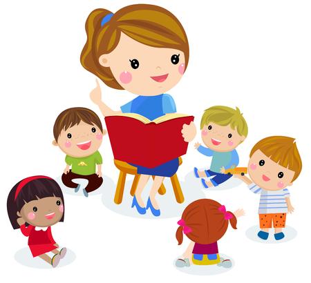 Illustration pour Elementary teacher having a class with group of children. - image libre de droit