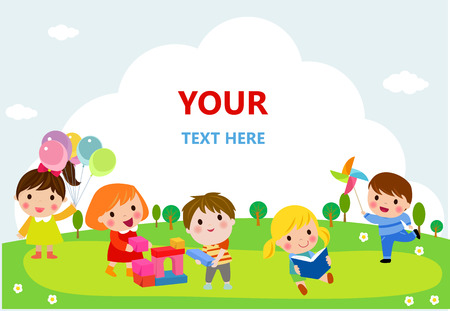 Illustration for cute kids playing with toys, reading, jumping - Royalty Free Image