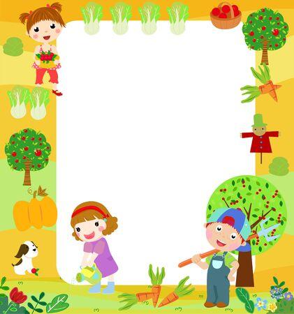 Illustration for Illustration of children in the farm - Royalty Free Image
