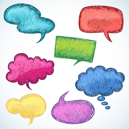 Colorful speech balloons in doodle sketch style