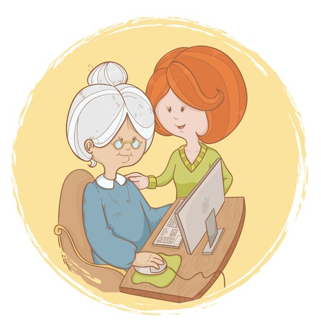 Old woman granny learns the computer use with help of young girl