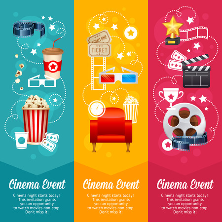 Realistic cinema movie poster template with film reel, clapper, popcorn, 3D glasses, conceptbanners