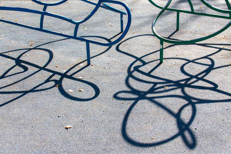Photo pour Crooked Lines of Playground Equipment look like Wire Puzzles - image libre de droit