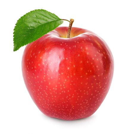 Photo for Red apple with green leaf isolated on a white background. - Royalty Free Image